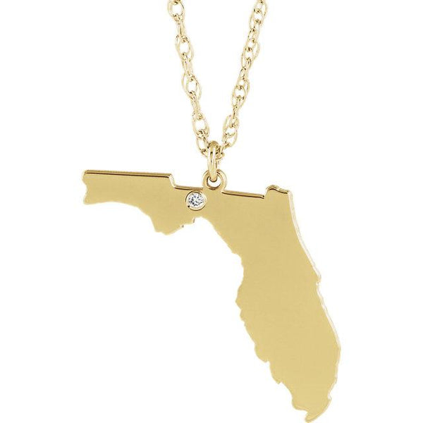 14k 10k Yellow Rose White Gold Diamond Silver Florida FL State Map Personalized City Necklace