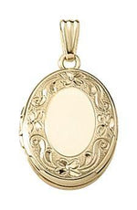 Load image into Gallery viewer, 14k Yellow Gold 14mm x 17mm Floral Oval Locket Pendant Charm Engraved Personalized Monogram