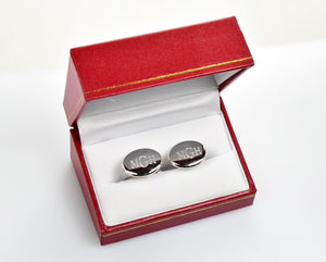 Sterling Silver Oval Cufflinks Cuff Links Engraved Personalized Monogram