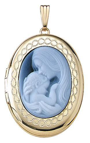 14k Yellow Gold Mother Child Blue Agate Cameo Oval Locket Pendant Charm Engraved Personalized