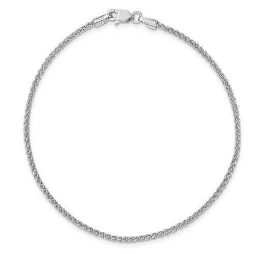 14k White Gold 1.65mm Spiga Wheat Bracelet Anklet Choker Necklace Pendant Chain