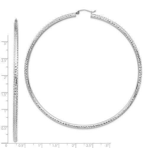 14K White Gold 3.35 inch Diameter Extra Large Giant Gigantic Diamond Cut Round Classic Hoop Earrings Lightweight 85mm x 3mm