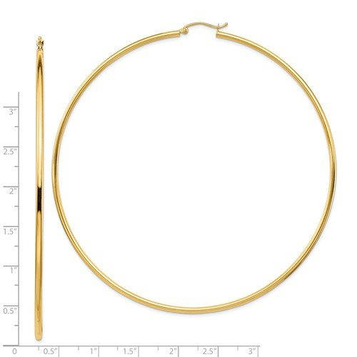 14K Yellow Gold Extra Large Diameter 87mm x 2mm Classic Round Hoop Earrings 3.4 inches Giant Size Super Wide