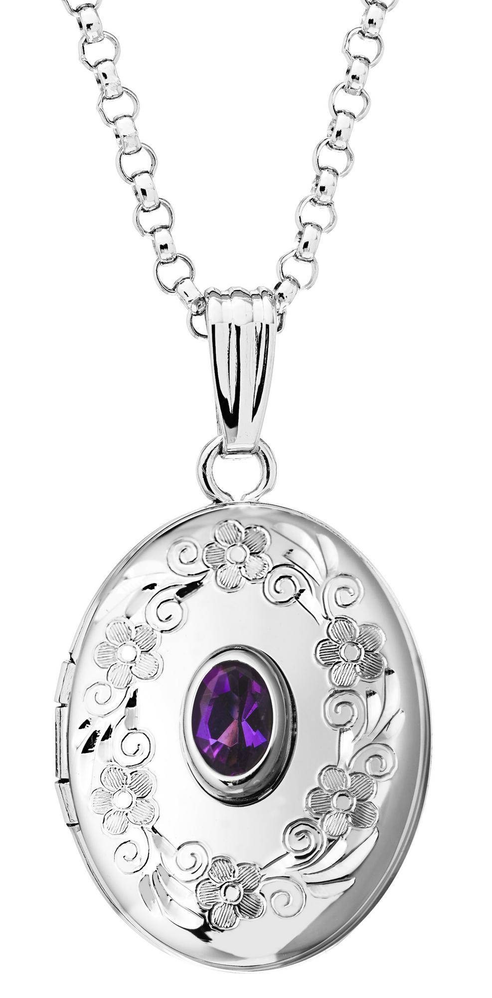 Sterling Silver Genuine Amethyst Oval Locket Necklace February  Birthstone Personalized Engraved Monogram
