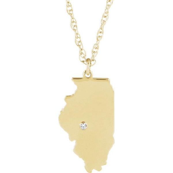 14k 10k Yellow Rose White Gold Diamond Silver Illinois IL State Map Personalized City Necklace