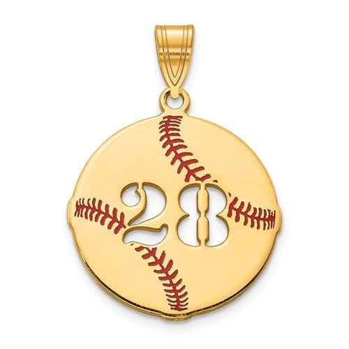 14k 10k Gold Sterling Silver Baseball Personalized Pendant Charm