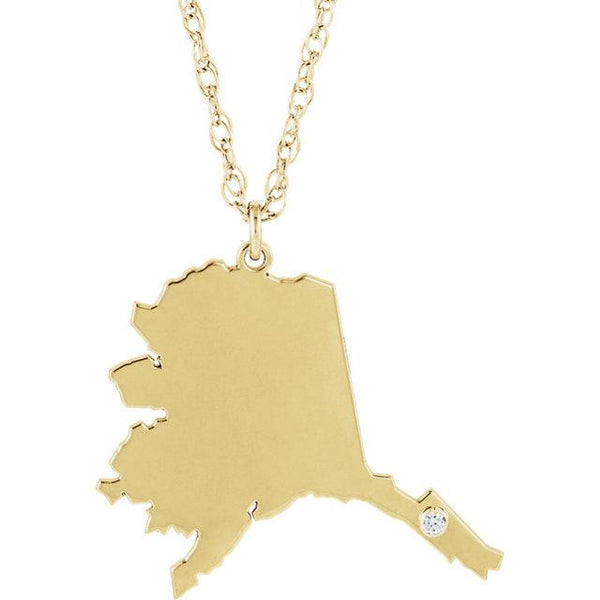 14k 10k Yellow Rose White Gold Diamond Silver Alaska AK State Map Personalized City Necklace