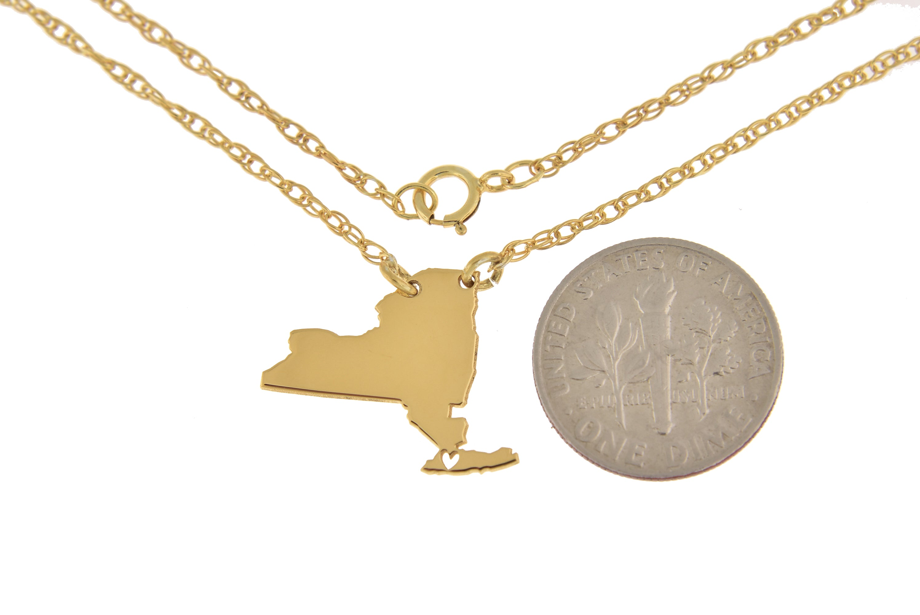 14k Gold 10k Gold Silver New York NY State Map Necklace Heart Personalized City