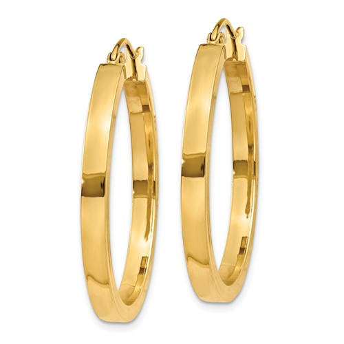 14K Yellow Gold Square Tube Round Hoop Earrings 30mm x 3mm