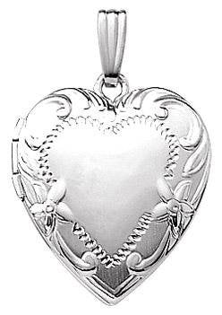 14K White Gold 19mm Floral Heart Photo Locket Pendant Charm Engraved Personalized Monogram