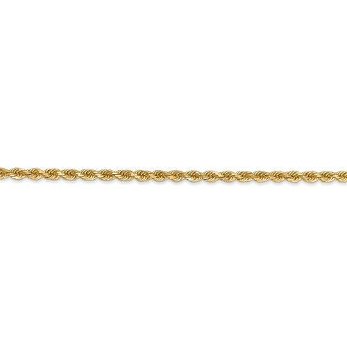 14K Solid Yellow Gold 2.25mm Diamond Cut Rope Bracelet Anklet Choker Necklace Pendant Chain