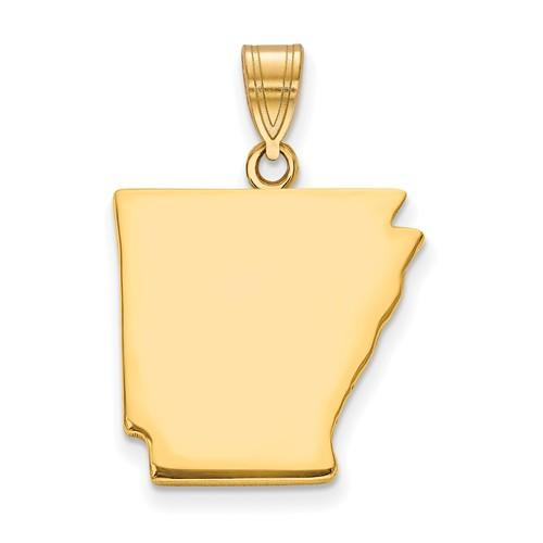 14K Gold or Sterling Silver Arkansas AR State Pendant Charm Personalized Monogram