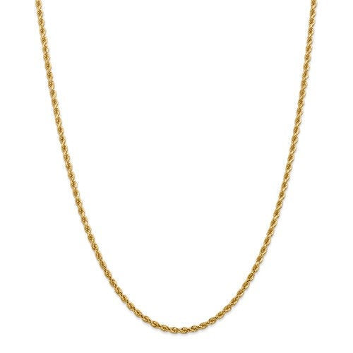 14K Solid Yellow Gold 2.75mm Diamond Cut Rope Bracelet Anklet Choker Necklace Pendant Chain