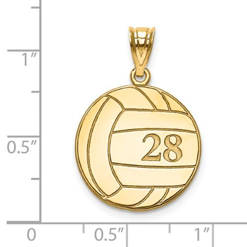 14k 10k Gold Sterling Silver Volleyball Personalized Engraved Pendant