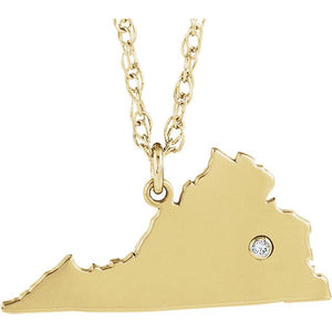 14k 10k Yellow Rose White Gold Diamond Silver Virginia VA State Map Personalized City Necklace