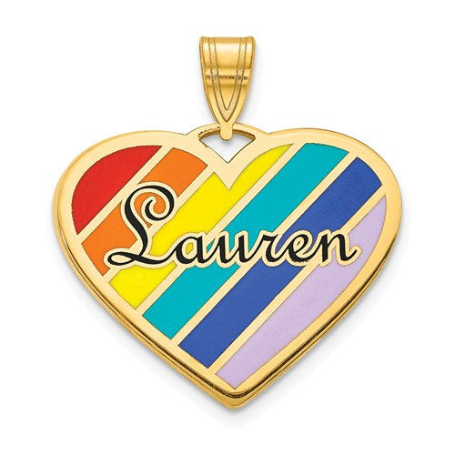 14k 10k Yellow White Gold Sterling Silver Epoxy Rainbow Colors Heart Name Pendant Charm Personalized Engraved