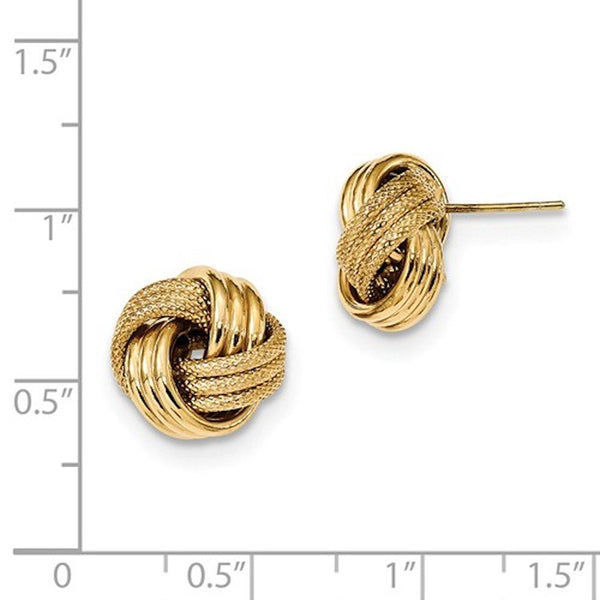 14k Yellow Gold 13mm Textured Love Knot Stud Post Earrings