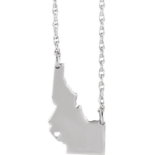 14k Gold 10k Gold Silver Idaho State Map Necklace Heart Personalized City