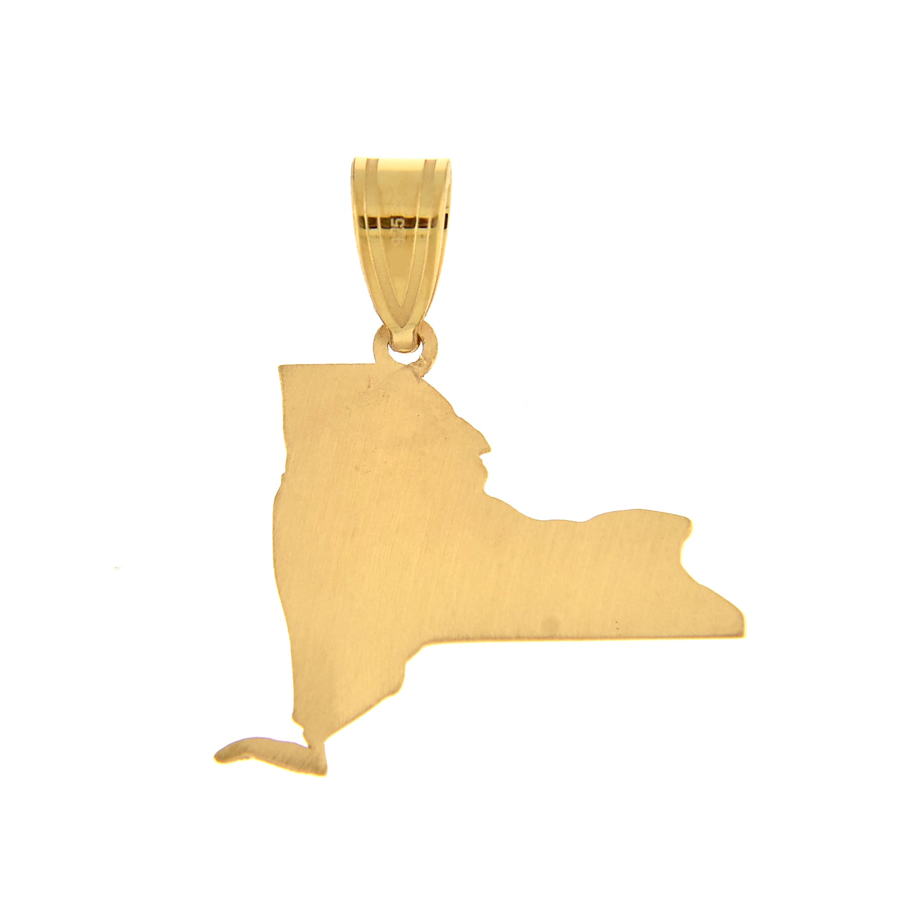 14K Gold or Sterling Silver New York  NY State Map Pendant Charm Personalized Monogram