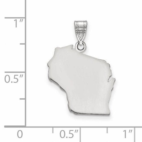 14K Gold or Sterling Silver Wisconsin WI State Map Pendant Charm Personalized Monogram
