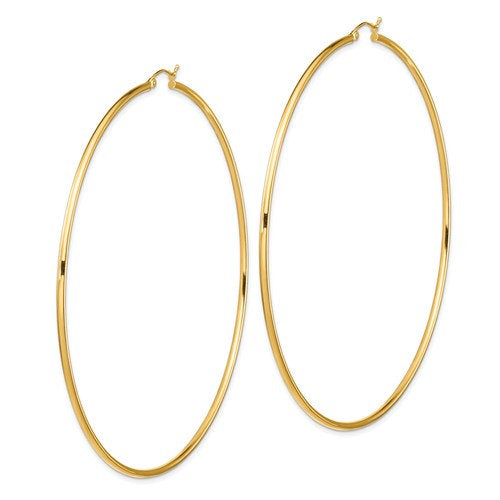 14K Yellow Gold 3.75 inches Diameter Extra Large Giant Gigantic Round Classic Hoop Earrings 95mm x 2mm Lightweight