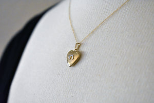 14k Yellow Gold 13mm Children Heart Chai Locket Pendant Charm Necklace Engraved Personalized Monogram