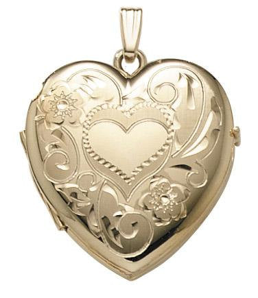 14k Yellow Gold 26mm Heart Locket Pendant Charm Engraved Personalized Monogram - BringJoyCollection