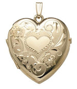 Load image into Gallery viewer, 14k Yellow Gold 26mm Heart Locket Pendant Charm Engraved Personalized Monogram - BringJoyCollection