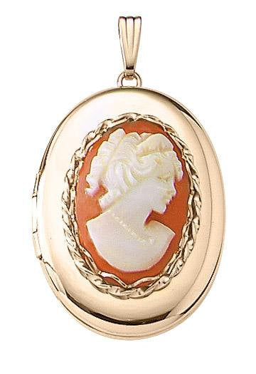 14k Yellow Gold 23mm x 30mm Carnelian Cameo Oval Locket Pendant Charm Engraved Personalized - BringJoyCollection