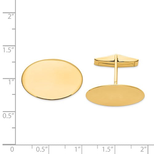 14k Yellow Gold Oval Cufflinks Cuff Links Engraved Personalized Monogram
