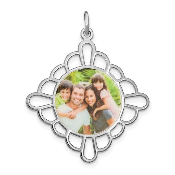 Sterling Silver or Gold Plated Sterling Silver Picture Photo Fancy Pendant Charm Personalized