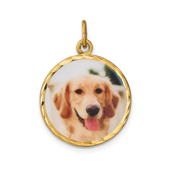 Sterling Silver or Gold Plated Sterling Silver Picture Photo Diamond Cut Round Pendant Charm Personalized 18mm