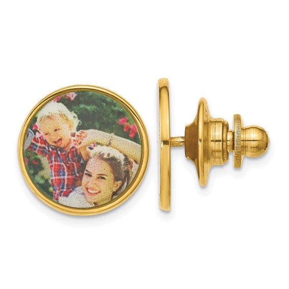 Sterling Silver or Gold Plated Sterling Silver Tie Tac Personalized Picture Photo Custom Made to Order