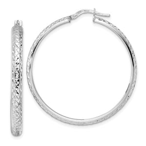 14k White Gold Diamond Cut Round Hoop Earrings 43mm x 4mm