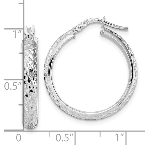 14k White Gold Diamond Cut Round Hoop Earrings 23mm x 4mm