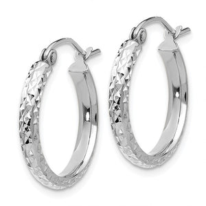 14k White Gold Diamond Cut Round Hoop Earrings 18mm x 2.5mm