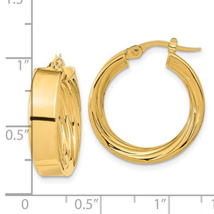 14k Yellow Gold Round Square Tube Textured Inside Diamond Cut Hoop Earrings 21mm x 5.5mm