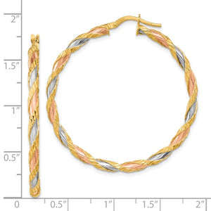 14k Gold Tri Color Twisted Textured Round Hoop Earrings