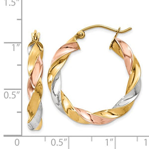 14k Gold Tri Color Twisted Round Hoop Earrings