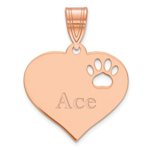14k 10k Yellow Rose White Gold or Sterling Silver Paw Print Cut Out Personalized Pendant Charm
