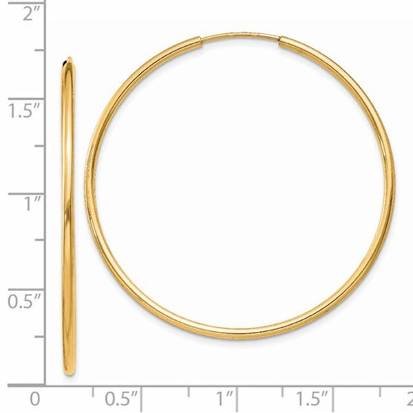 14k Yellow Gold Large Endless Round Hoop Earrings 40mm x 1.5mm