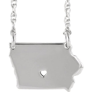 14k Gold 10k Gold Silver Iowa State Map Necklace Heart Personalized City
