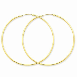 14k Yellow Gold Large Endless Round Hoop Earrings 50mm x 1.5mm