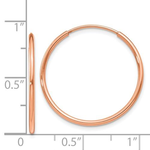 14k Rose Gold Classic Endless Round Hoop Earrings 22mm x 1.25mm