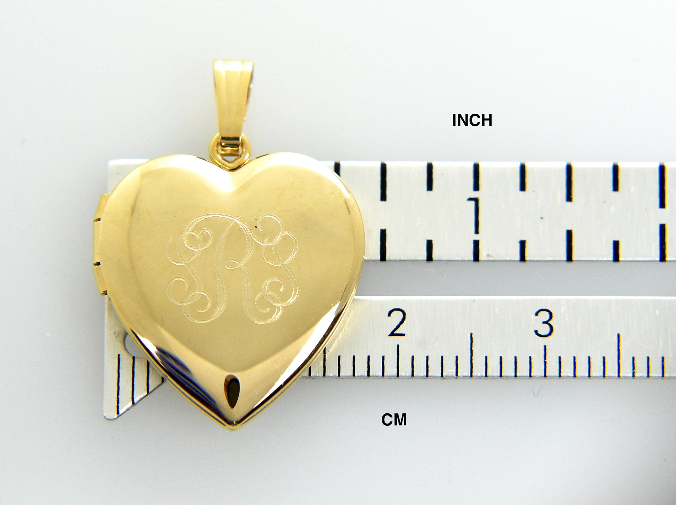 14k Yellow Gold Heart Locket Pendant Charm Engraved Personalized Monogram