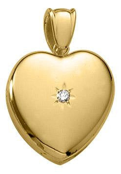 14K Yellow Gold 0.05CTW Diamond 20mm Heart Locket Pendant Charm Engraved Personalized Monogram