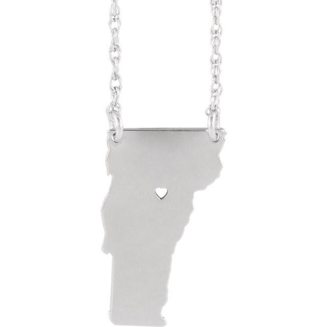14k Gold 10k Gold Silver Vermont VT State Map Necklace Heart Personalized City
