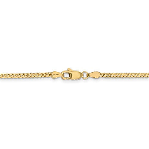 14K Yellow Gold 2mm Franco Bracelet Anklet Choker Necklace Pendant Chain