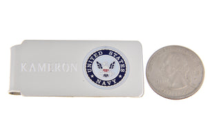 Engravable Solid Sterling Silver Enamel United States US Navy Money Clip Personalized Engraved Monogram