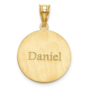 14k 10k Gold Sterling Silver Baseball Personalized Engraved Pendant